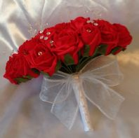 ARTIFICIAL RED FOAM ROSE WEDDING FLOWERS CRYSTAL BRIDE WEDDING BOUQUET POSIE